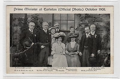 PRIME MINISTER AT EARLSTON, 1908: Berwickshire postcard (C27067)