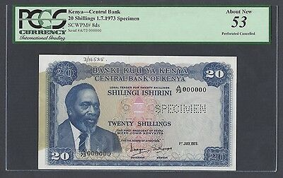 Kenya 20 Shillings 1-7-1973 P8ds Specimen About Uncirculated
