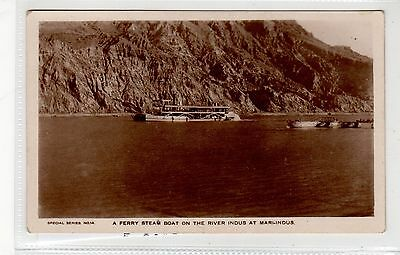 FERRY STEAM BOAT ON THE RIVER INDUS AT MARI-INDUS: India postcard (C27166)