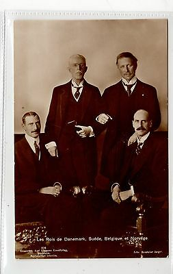 THE KINGS OF DENMARK, SWEDEN, BELGIUM AND NORWAY: Royalty postcard (C27175)