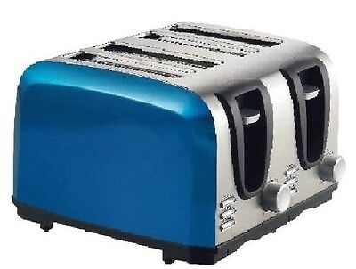 Nice 4 Slice Premium Stainless Steel BLUE Dual Control Toaster Flexibility Saver
