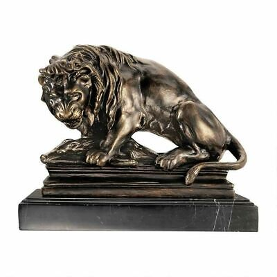 Art Deco Lion On Boar Iron & Marble Statue French Sculptor Antoine Louis Barye