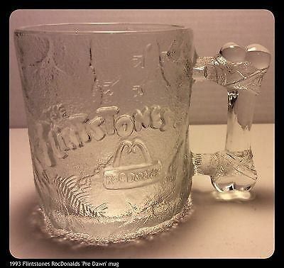 Vintage McDonald's FLINTSTONE Clear PRE-DAWN Glass Mug 1993