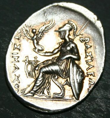 King of Thrace Lysimachos Alexander the Great Ancient Greek Silver Drachm FineD4
