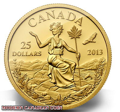 CANADA $25  - 1/4 oz. PURE GOLD COIN - CANADA: AN ALLEGORY - RCM 2013
