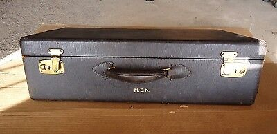 Antique Suitcase Leather Covered Wood Case Early 1900's M. E. N. Monogram No Key