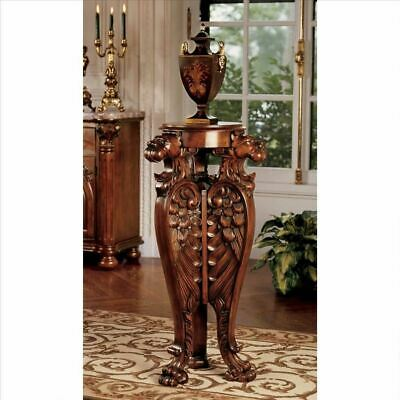 "Antiqe Majestic Lion 38"" Hand-Carved Pedestal Stand For Plant Vase or Bust"