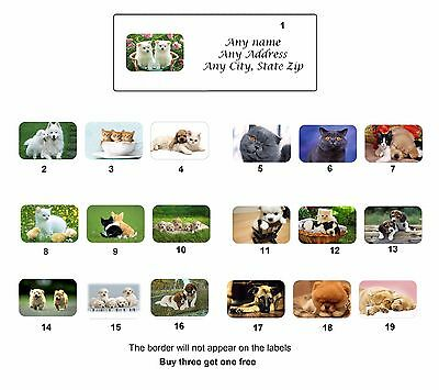 Personalized Return Address Cute Animals Labels Buy 3 get 1 free(ca3)