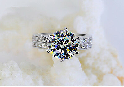 925 sterling silver crystal 8mm CZ engagement wedding ring size 8 + gift bag