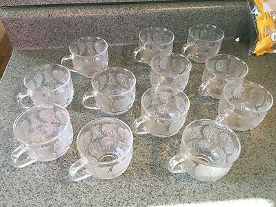 Arcoroc France Cups Fleur Floral Tea Cups Punch Clear Glass Set of 12
