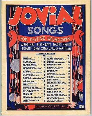 VINTAGE 'JOVIAL SONGS FOR FESTIVE OCCASIONS' MUSIC SHEET BOOK (Allan&Co)