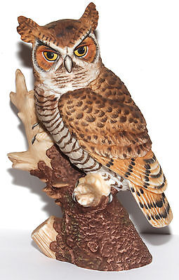 """1986 Majestic Owls Of The Night Great Horned Owl Porcelain Figurine Approx 7"""" H"""