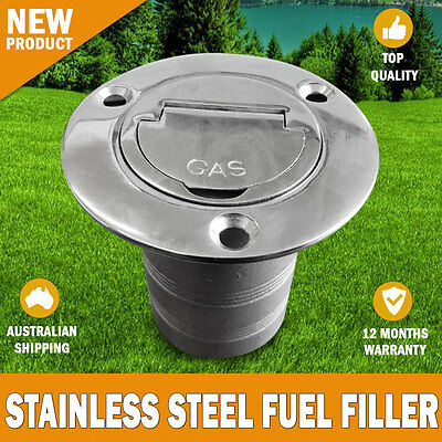 "NEW Boat Deck Fuel Filler Keyless Cap -2"" Marine 316 Stainless Steel"