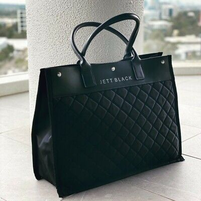 New Perforated Neoprene Women's Shoulder Bag Gym Carry All Tote - Sydney - Black