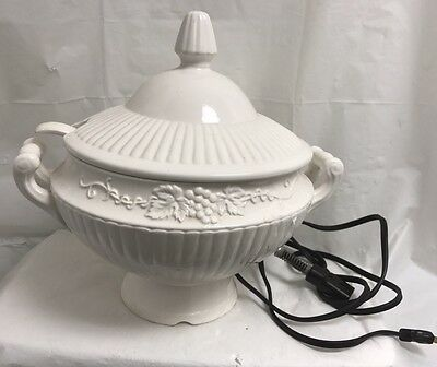 Vintage Electric White Ceramic Soup Tureen & Ladle
