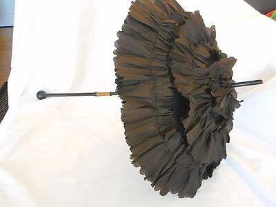 Victorian Folding Black Ruffled Mourning Small Parasol Umbrella Vintage (AeB