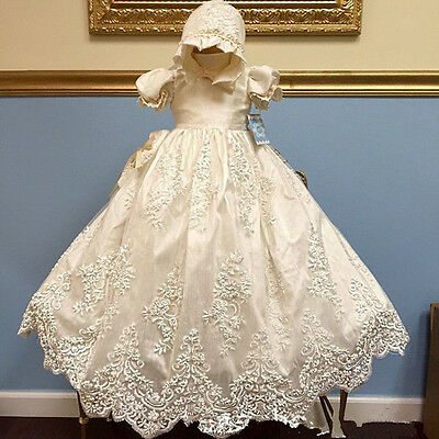 Heirloom Baby Girl Baptism Christening Gown Hat Lace Beads White / Ivory Dress
