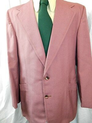 Vintage 70s Mauve Polyester Sports Jacket Blazer 42 Chest Anchorman Stay Classy