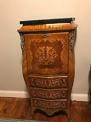Ormolu Gilt Bronze Louis XV XVI Secretary Desk Antique Inlaid Marquetry