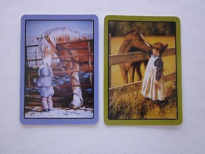 TWO SWAP CARDS - ART - STUNNING -  CHILDREN and HORSES - Unused