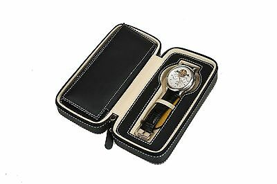 Leather travel watch case roll storage display box black for 2 wristwatches