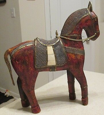 Large Asian Carved Wood Brass Metal Bone Horse Sculpture
