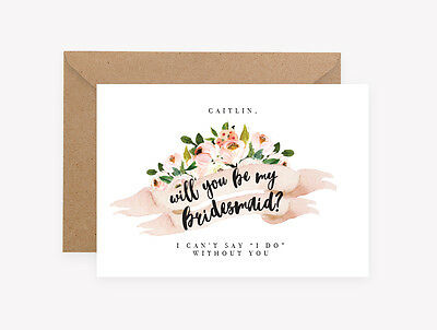 Personalised Will you be my Bridesmaid Maid of Honor Wedding Invitation Floral