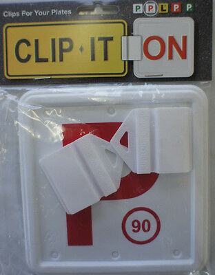 Clip It On P Plate Clips Car Number Licence Plate: 2 Piece Red P Set (NSW Only)