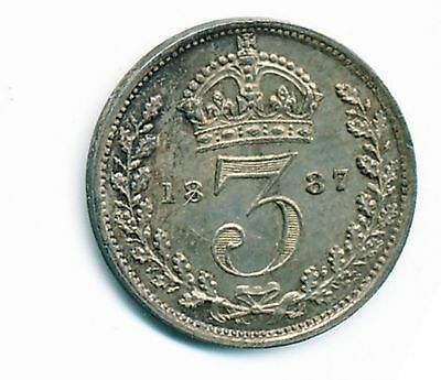 1887 Uncirculated Great Britain Silver 3 Pence