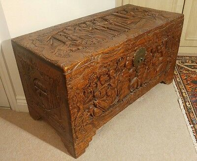 FABULOUS LARGE & HEAVILY CARVED MID 20thC ORIENTAL CHEST & BRASS CHINESE LOCK