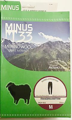 Minus33 Merino Wool Women's Franconia Midweight Bottom Black Medium NWOT