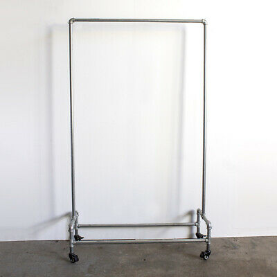 Industrial DIY Pipe Commercial Clothing Garment Rolling Rack Hanger Silver Color