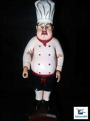 2.5 Feet Large Fat Chef Statue W/Glasses For Home Decor Or Restaurant Display