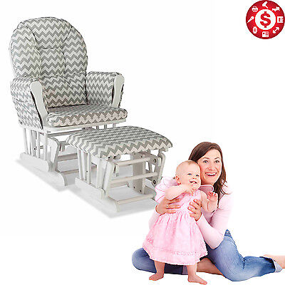 Nursery Glider with Ottoman ROCKING CHAIR Wooden Gray Finish FURNITURE SET
