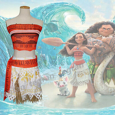 4pcs Girl Women Movie Polynesia princess Moana Cosplay Costume Dress halloween