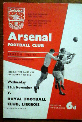 Arsenal V Staevnet 22/10/1963 Uefa/fairs Cup Arsenals 1St Home In Europe