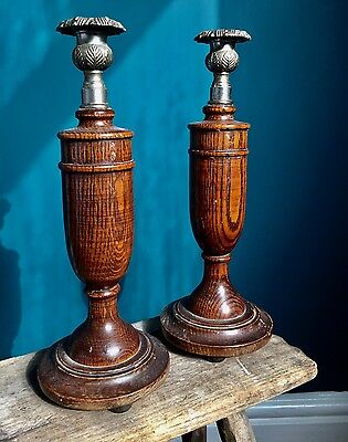 Vintage Antique X 2 Wooden Candle Holders