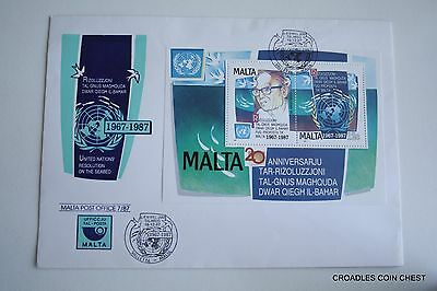 Malta Post Office 1987 July Maltese First Day Cover United Nations  #msp16