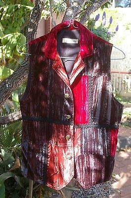 CRUSHED VELVET VEST BOHO HIPPY. GORGEOUS MIX OF COLOURS. Size 8.