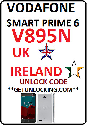 Uk Ireland Vodafone Smart Prime 6 V895N Vfd-895N & Tablet Speed 6 Unlock Code
