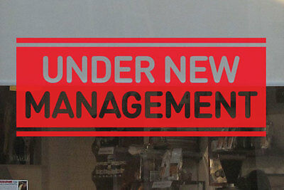 Removable UNDER NEW MANAGEMENT Decal Sticker Shop Wall Window Sign