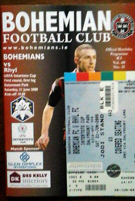Bohemians V Rhyl 21/6/2008 Uefa Intertoto Cup + Ticket