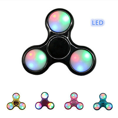 Plating LED Hand Spinner Finger Toys Light Up Fidget EDC Stress ADHD Cube UK