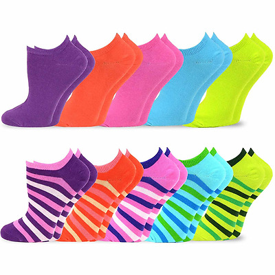 TeeHee Women's Valued 9+1 Pack Fashion No Show Cotton Socks