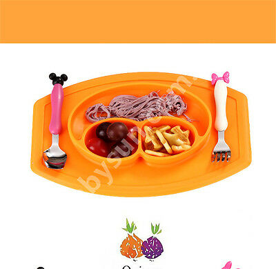 Baby Silicone Happy Face Bowl Set Non Slip Placemat Food Dish Plate Mat Colours