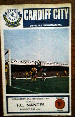 Cardiff V Nantes 21/10/1970 European Cup Winners Cup