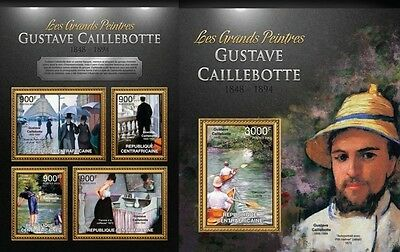 CA13123ab Central Africa 2013 Gustave Caillebotte MNH SET