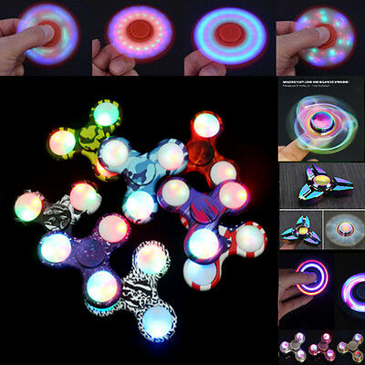 LED Light Tri Fidget Hand Spinner Flash EDC Finger For Autism ADHD Relief Focus