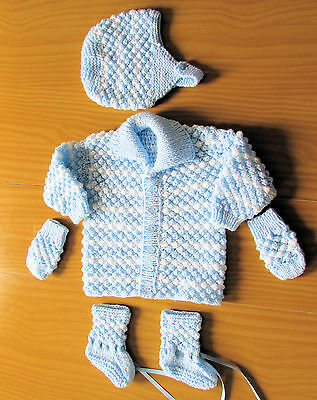 White and Blue matinee set new 1-3 month coat bonnet boots mitts james brett