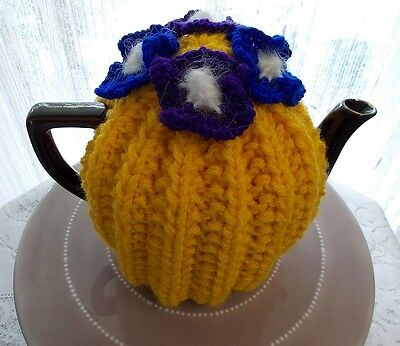 Hand Knitted Bright Yellow Tea Cosy (Cosie)